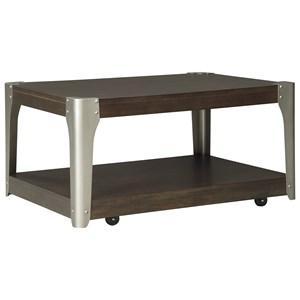 Industrial Rectangular Cocktail Table with Casters