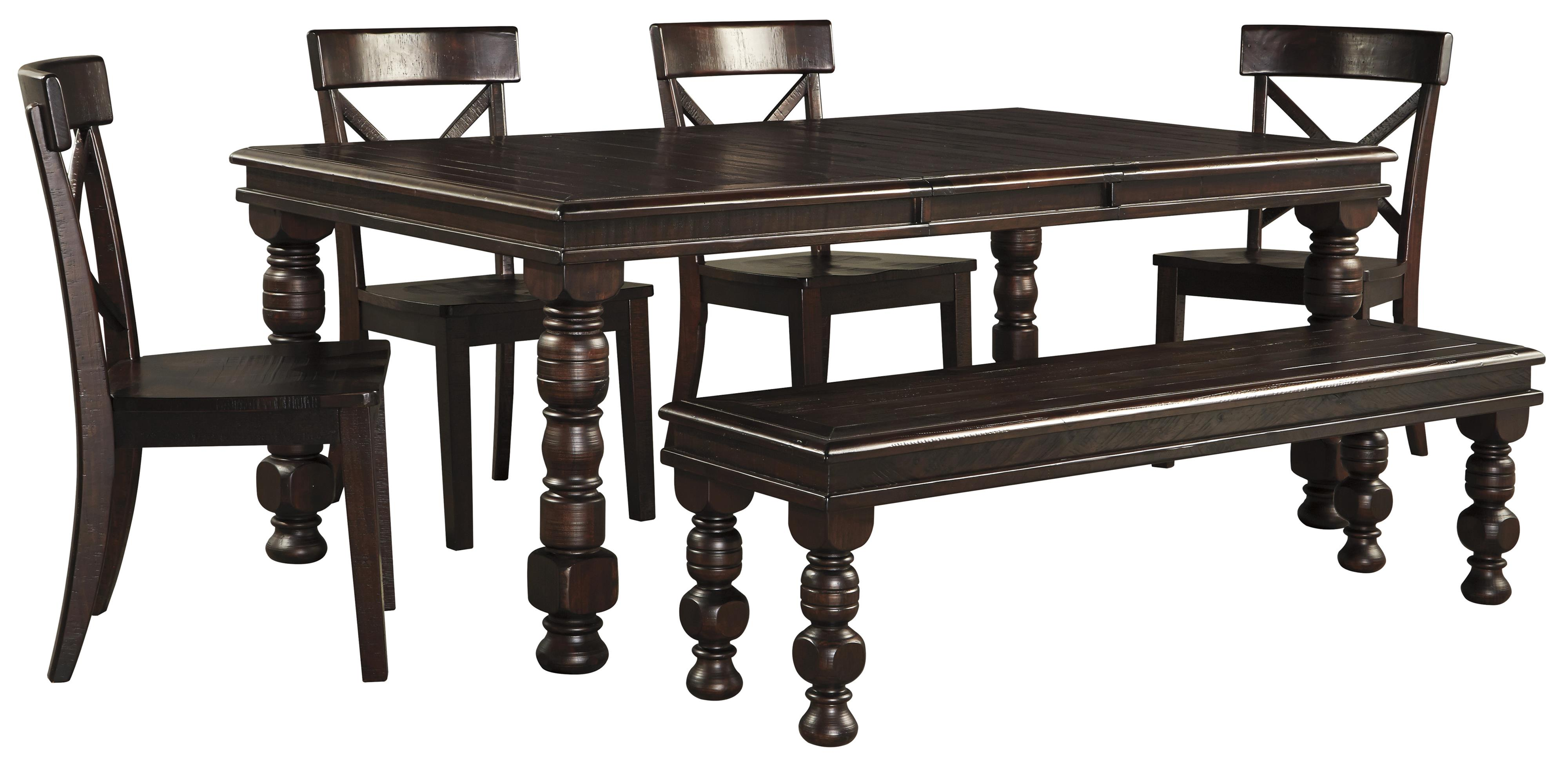 6-Piece Solid Pine Dining Table Set with Bench by Signature Design ...