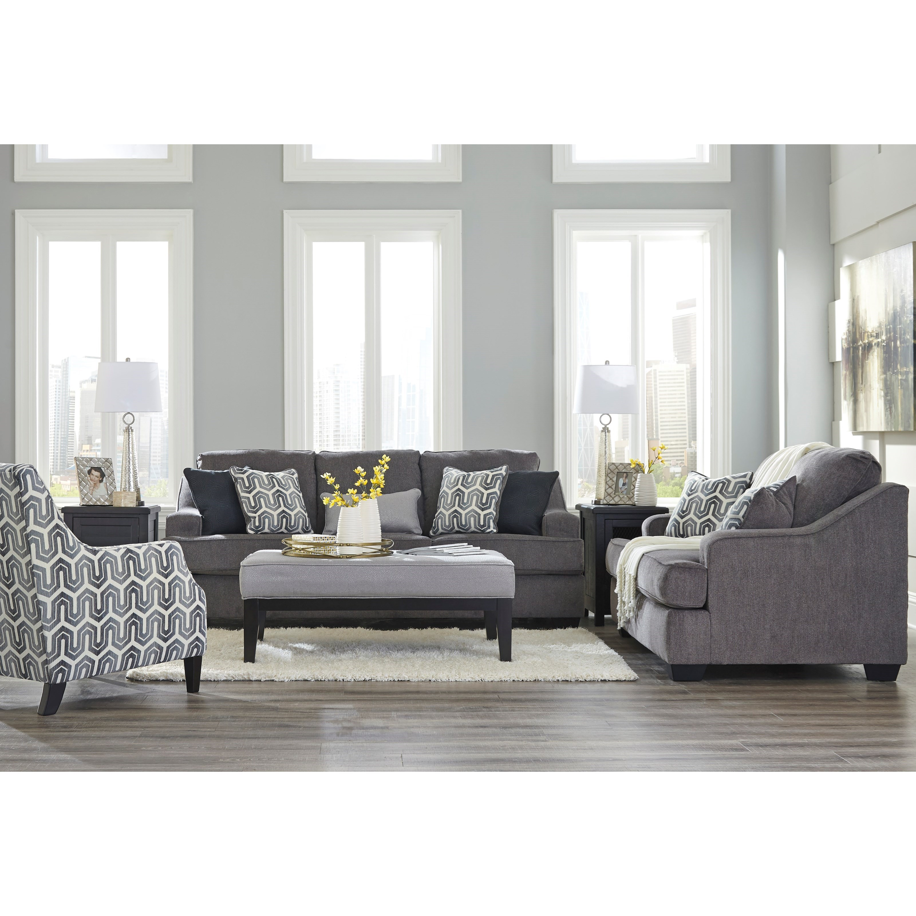 Ashley Home Stores Furniture: Contemporary Sofa With Track Arms By Signature Design By