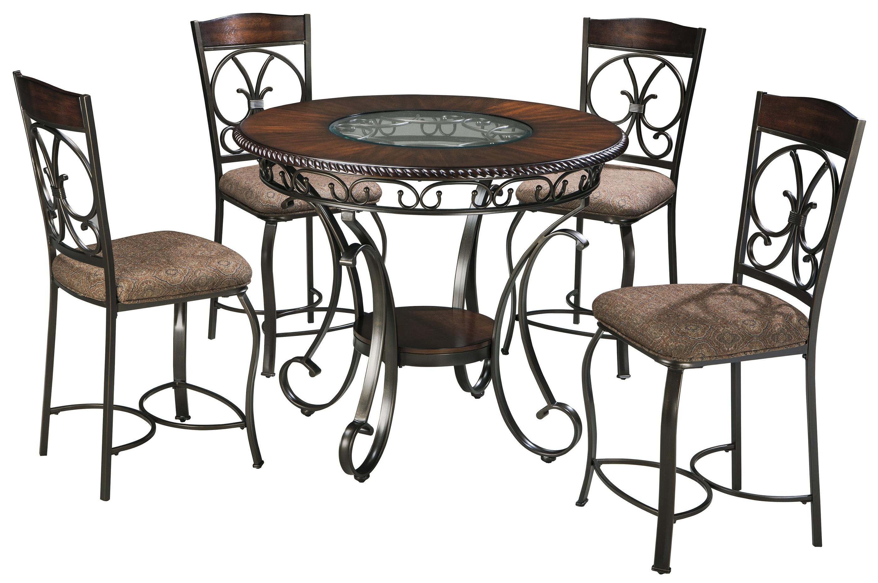 Round Counter Table And 4 Barstool Set With Metal Accents By Signature Design By Ashley Wolf