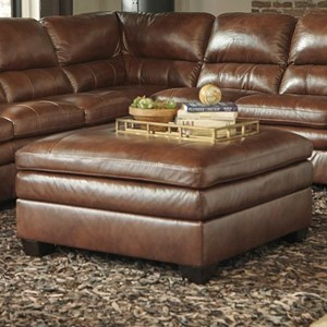 Leather Match Square Oversized Accent Ottoman