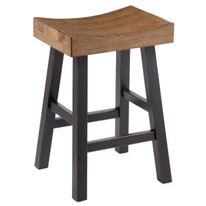 Rustic Two-Tone Stool with Saddle Seat