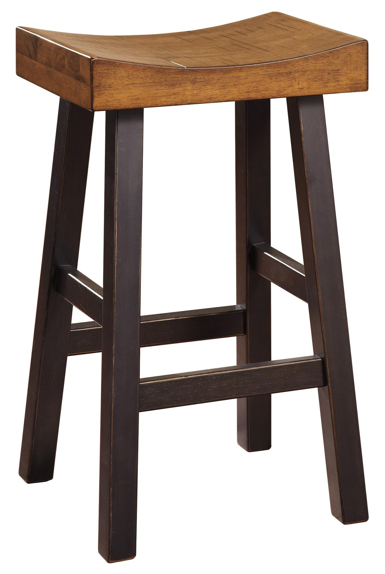 Rustic Two Tone Tall Stool With Saddle Seat By Signature