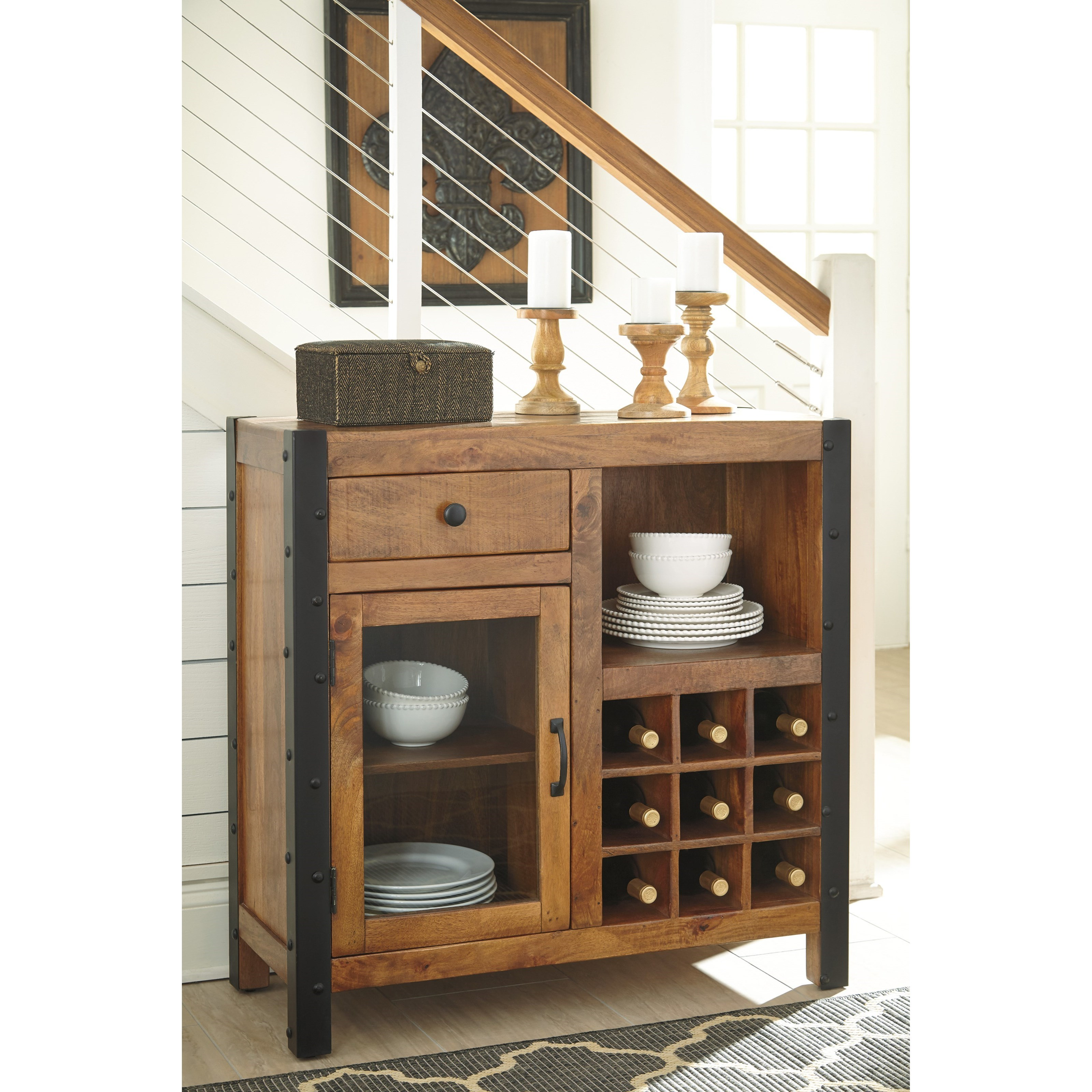 Solid Wood Mango Wine Cabinet With Industrial Metal Accents