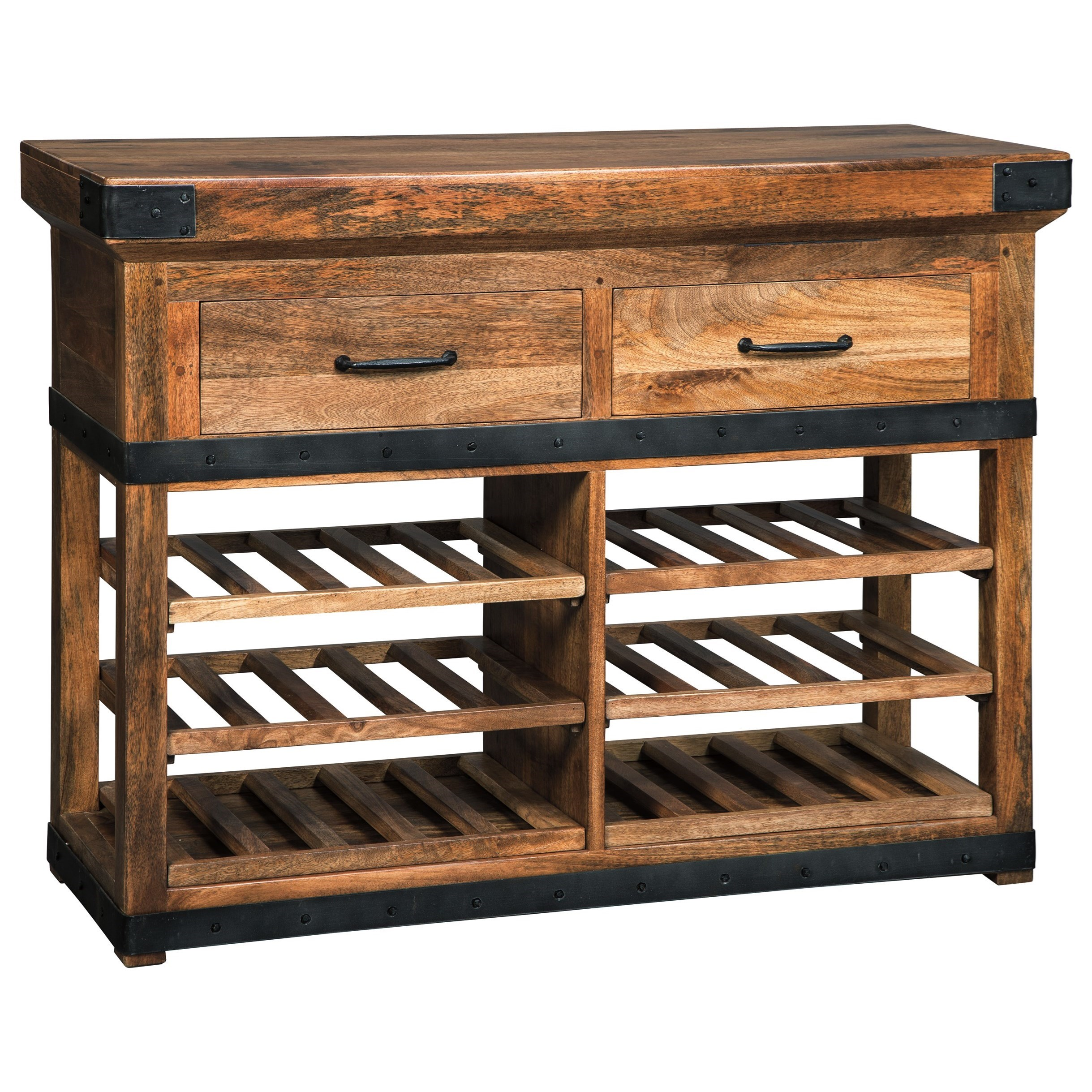 Solid Wood Mango Wine Cabinet With Industrial Metal Accents By Signature Design By Ashley Wolf
