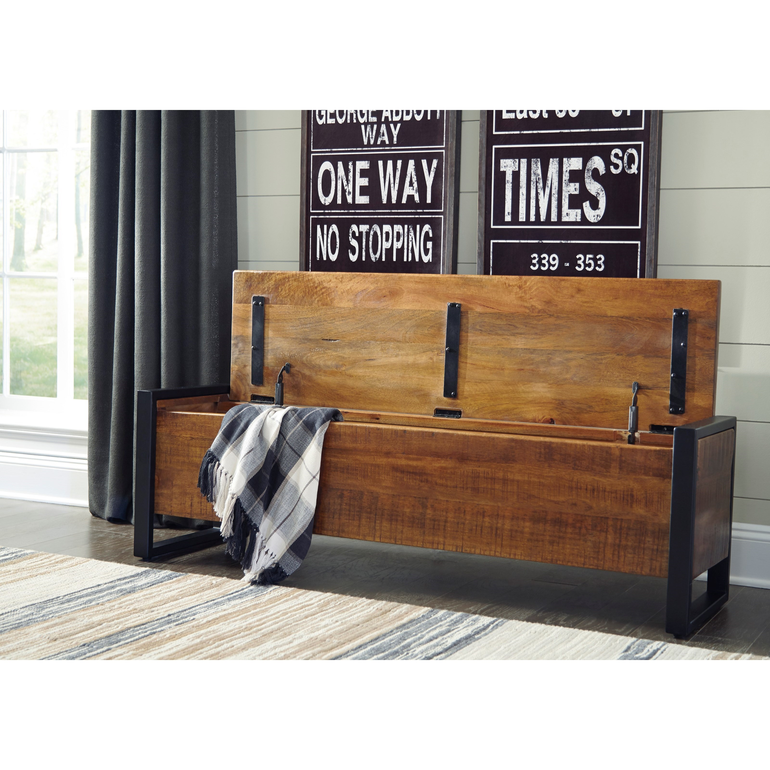 Rustic Wood/Metal Storage Bench With Lift Top