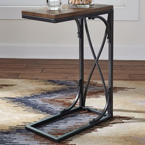 C-Table Chair Side End Table with Metal Base