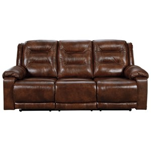 Leather Match Power Reclining Sofa w/ Adjustable Headrests