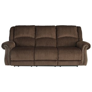 Transitional Power Reclining Sofa w/ Adjustable Headrests & USB Charging
