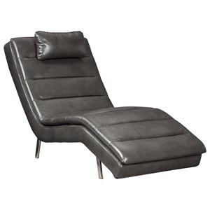 Contemporary Faux Leather Chaise with Headrest