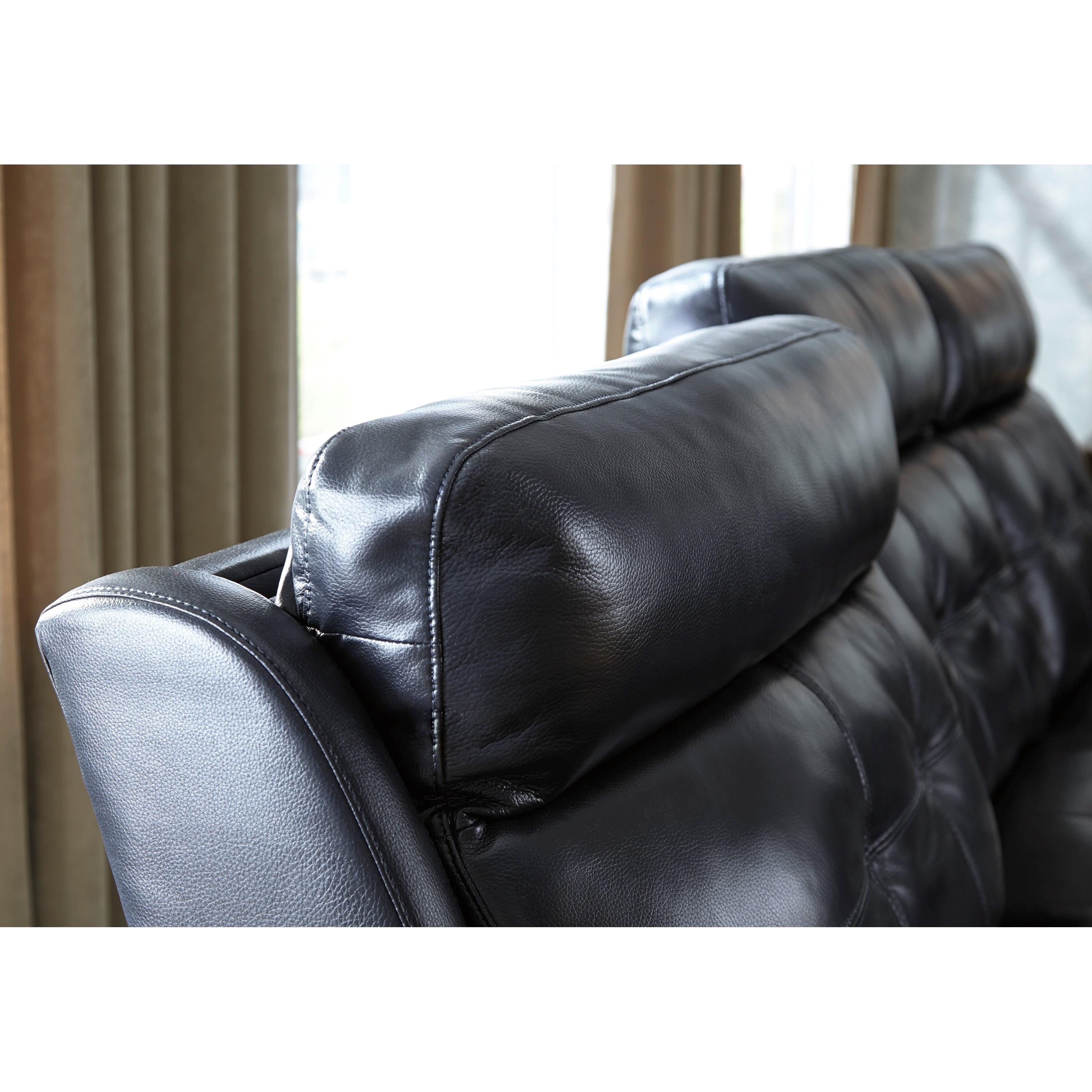 Superbe Power Reclining Sofa W/ Adjustable Headrest