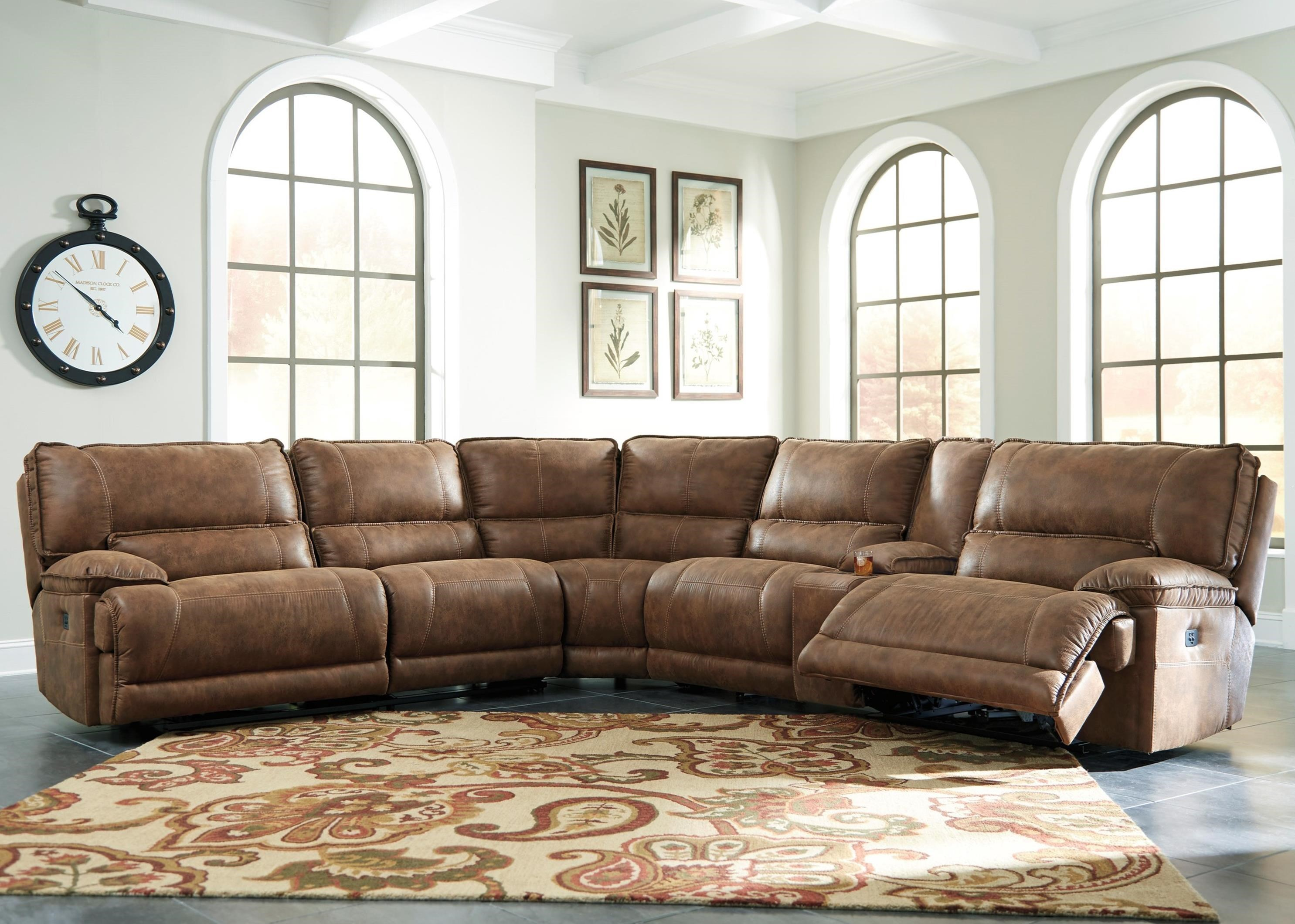 6 Piece Power Reclining Sectional W Console In Brown Faux Leather