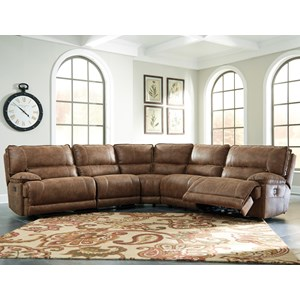 5-Piece Power Reclining Sectional in Brown Faux Leather