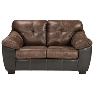 Two Tone Faux Leather Loveseat with Pillow Arms