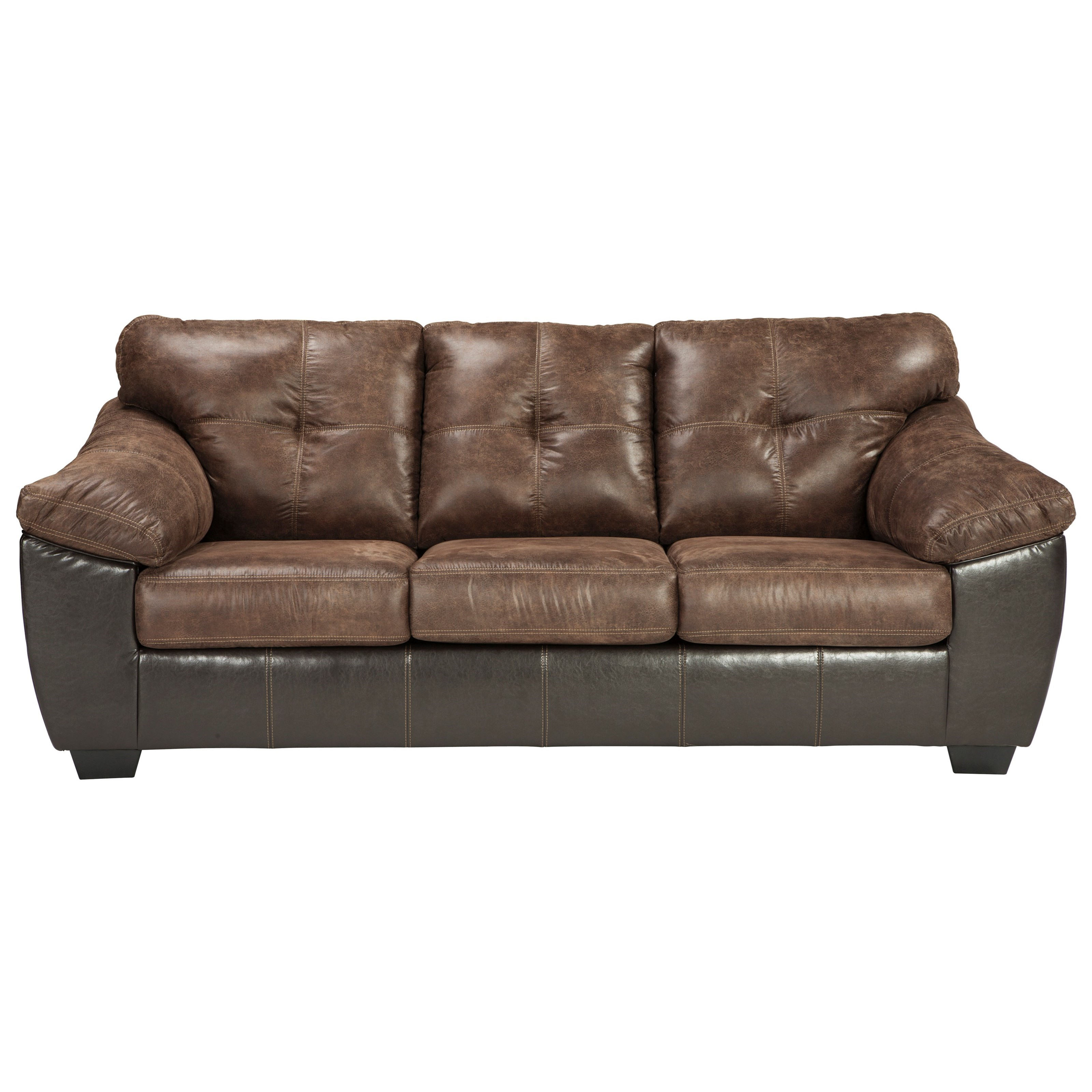 Two Tone Faux Leather Queen Sofa Sleeper With Memory Foam