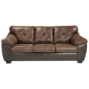 Two Tone Faux Leather Queen Sofa Sleeper with Memory Foam Mattress