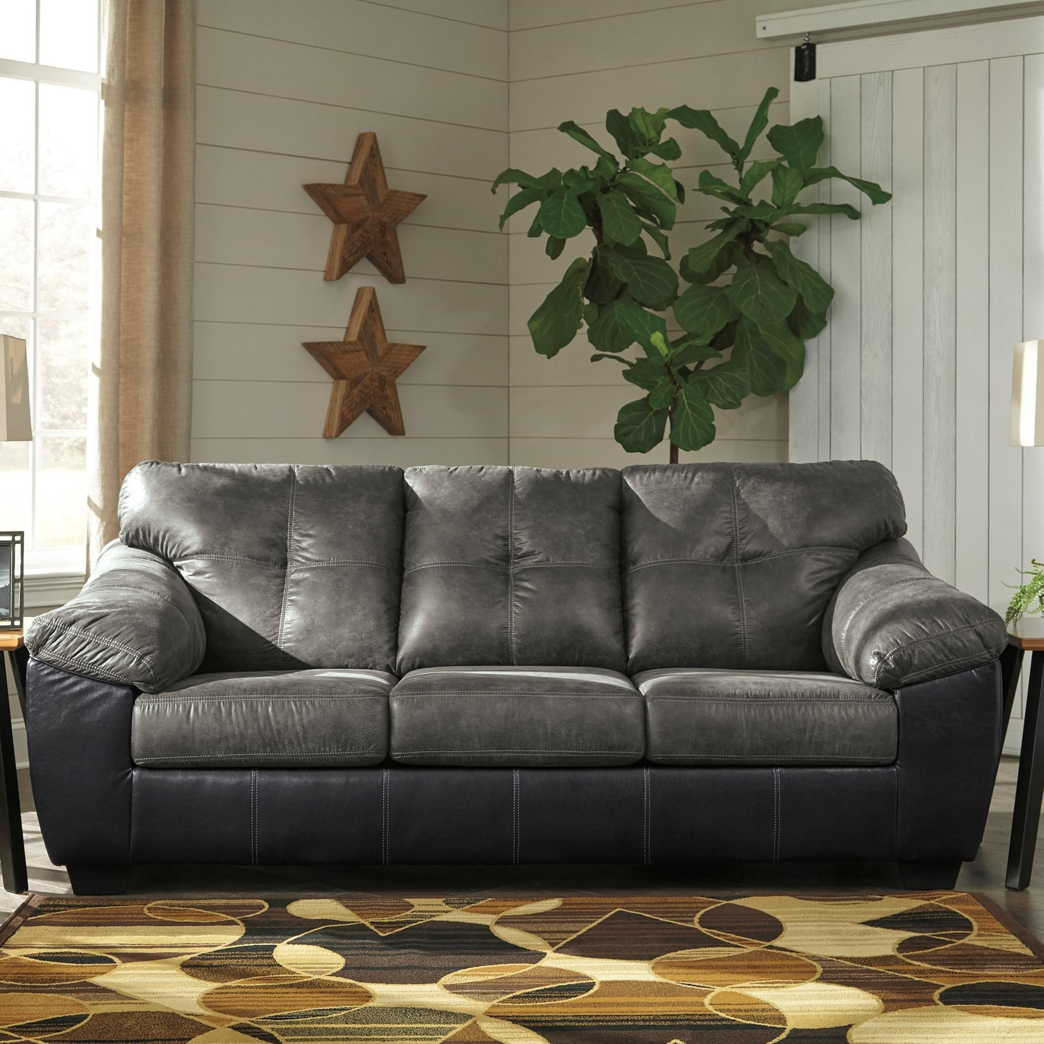 Two Tone Faux Leather Sofa with Pillow Arms