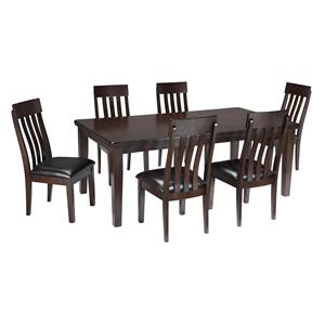 7-Piece Rectangular Dining Room Table w/ Oak Veneers and Upholstered Dining Side Chair w/ Lumbar Curve Set