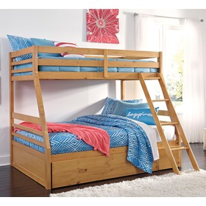 Solid Pine Twin/Full Bunk Bed w/ Under Bed Storage