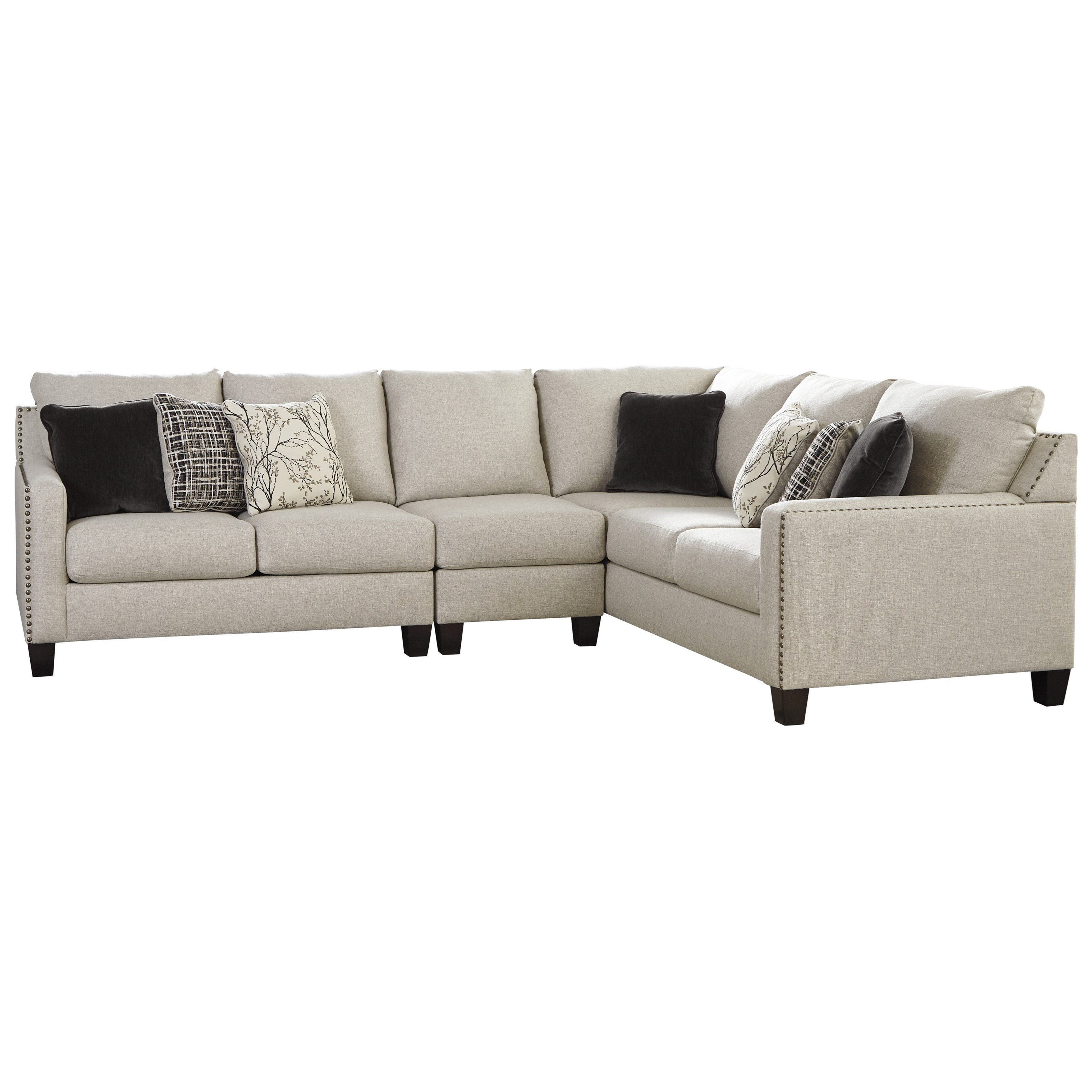 Three Piece Sectional with Nailhead Trim Accents