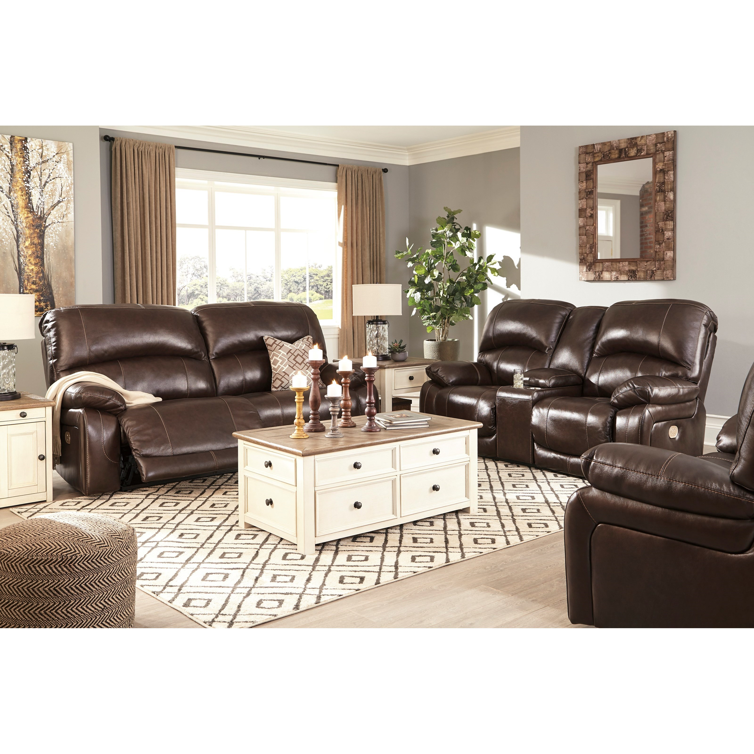 Leather Match 2 Seat Reclining Power Sofa By Signature
