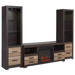 Signature Design by Ashley Harlinton Large TV Stand w/ Fireplace & 2 Tall Piers