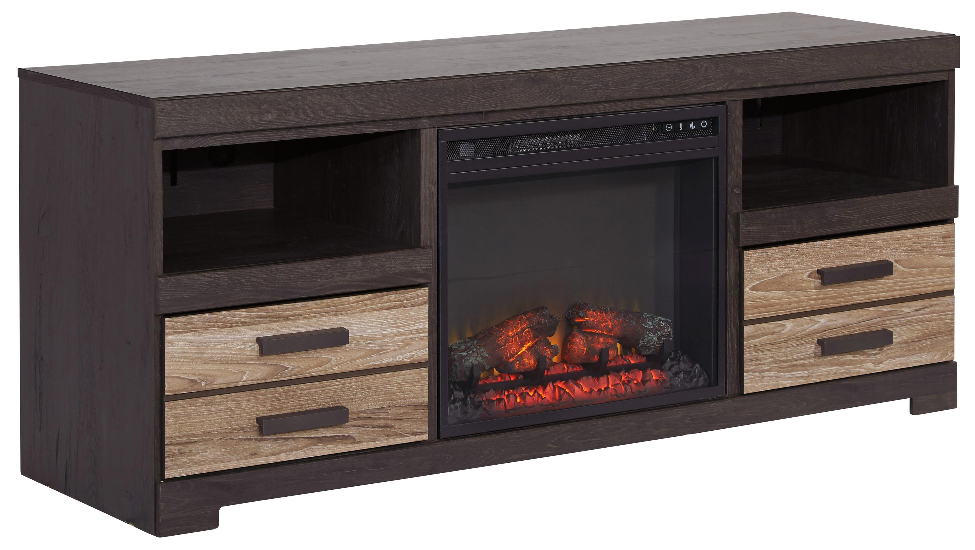 Contemporary Two-Tone Large TV Stand with Fireplace Insert