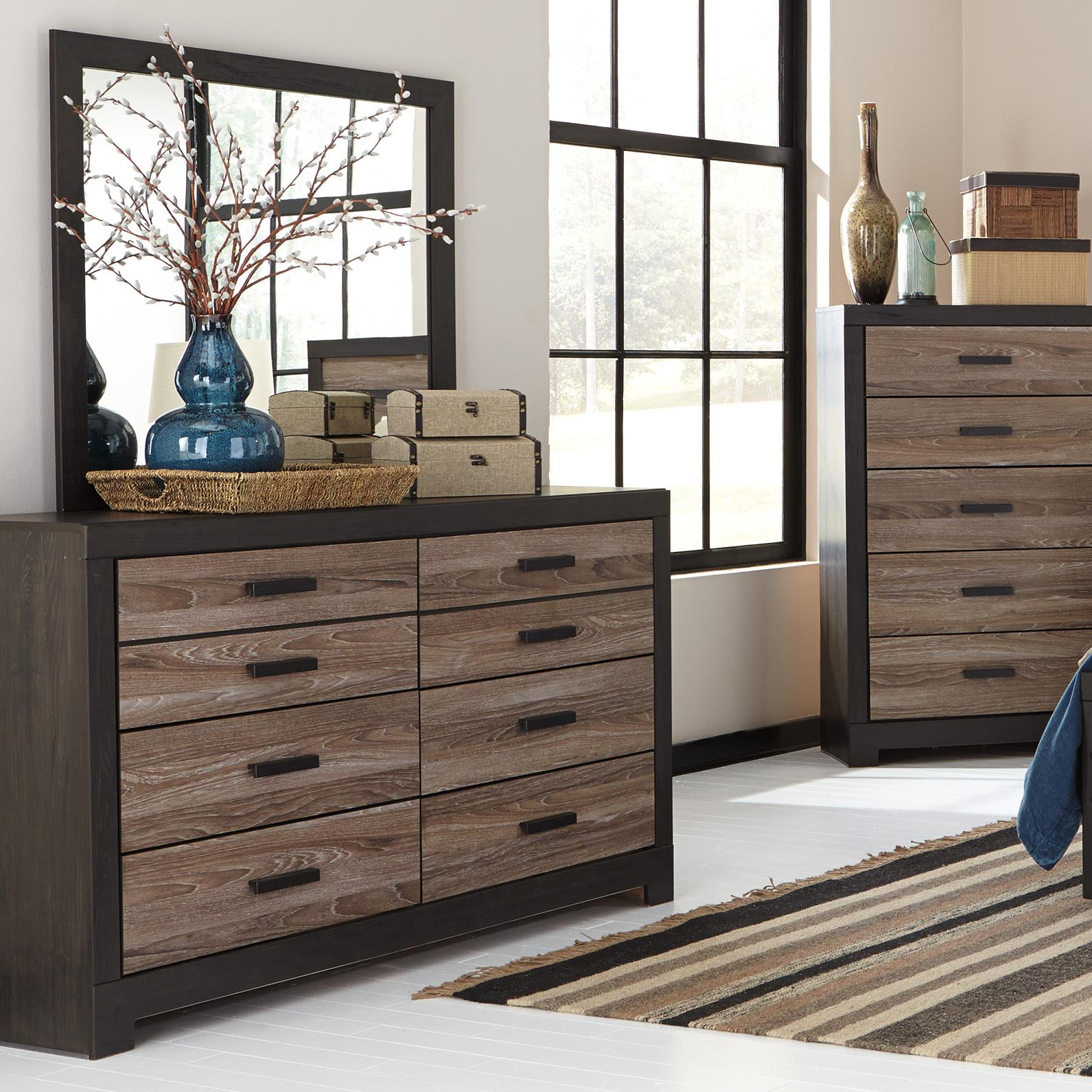 Rustic Two-Tone Dresser & Bedroom Mirror By Signature
