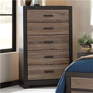 Rustic Two-Tone Five Drawer Chest