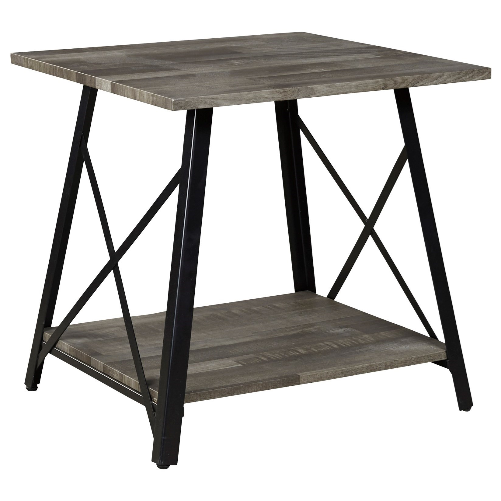 Contemporary Square End Table with Metal Base