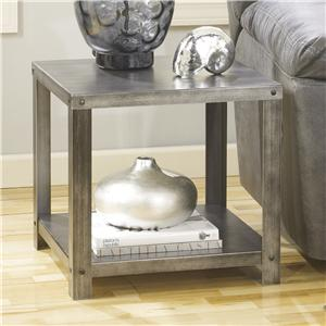 Square Industrial Metal End Table