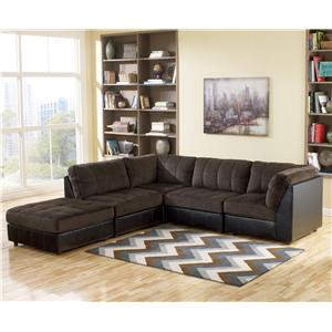 Signature Design by Ashley Hobokin - Chocolate Contemporary 5 Piece Sectional