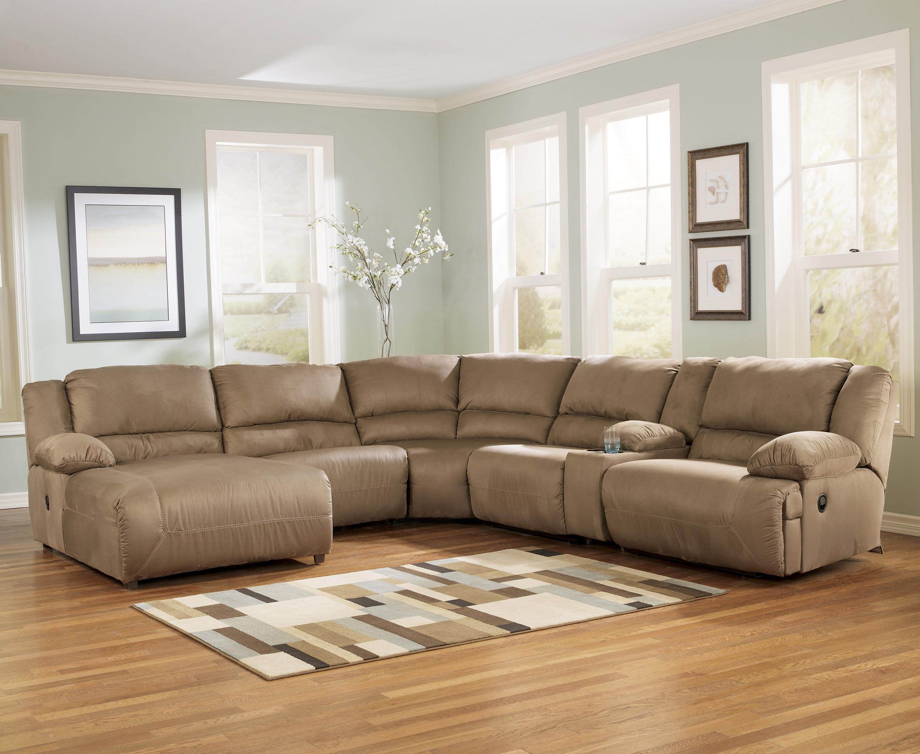 6 piece motion sectional with left chaise and console by for Ashley chaise sectional