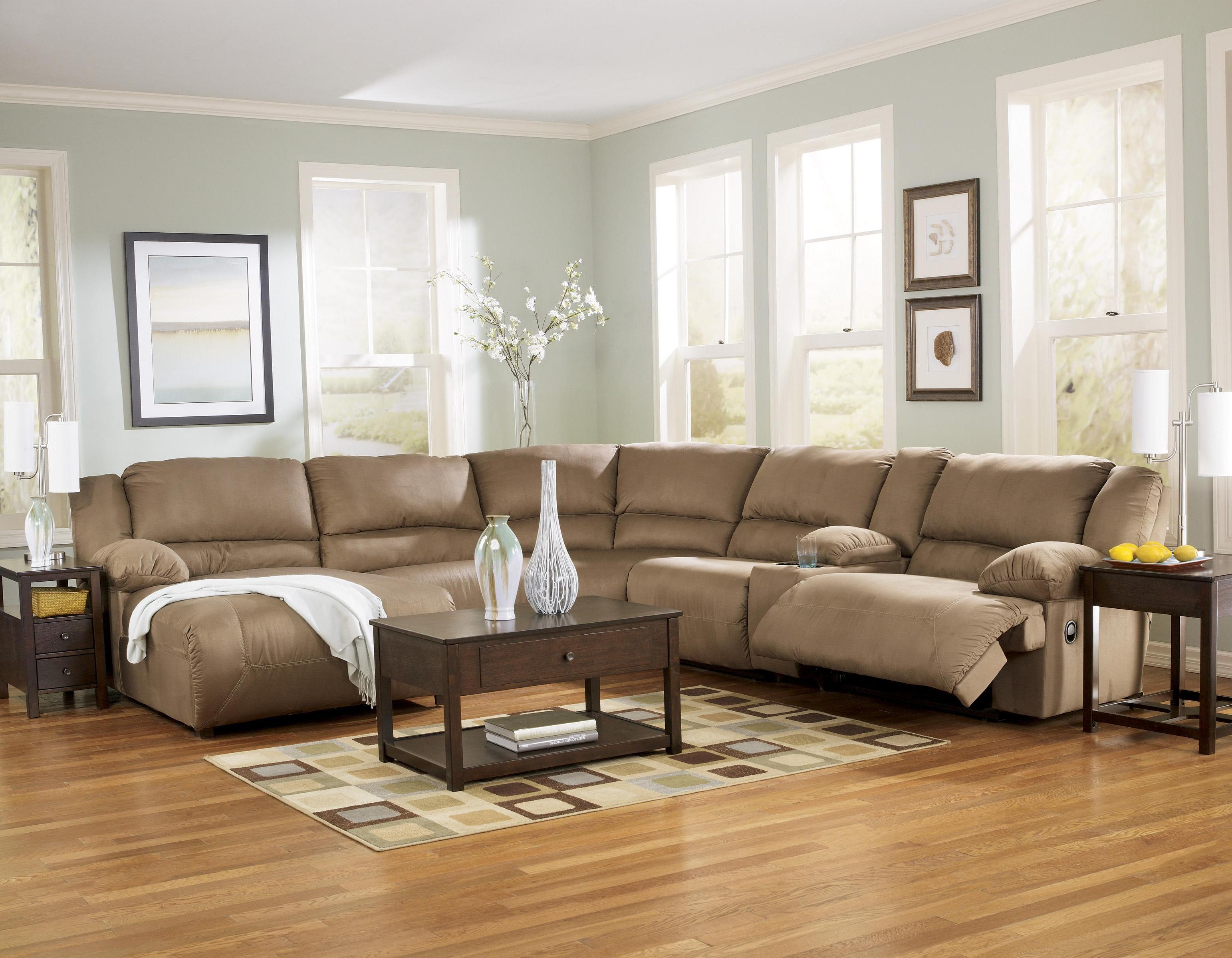 6 Piece Motion Sectional with Left Chaise and Console by Signature ...