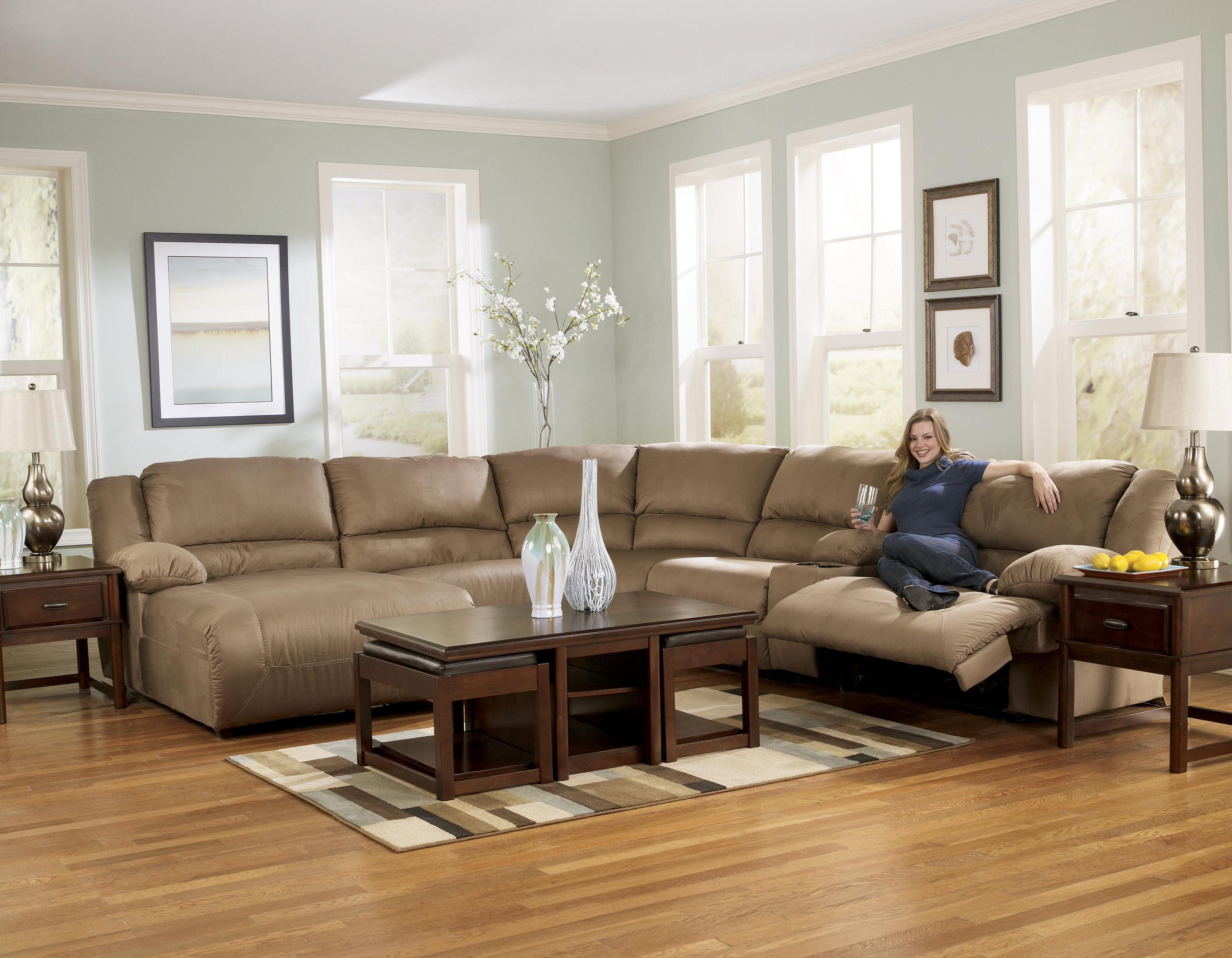 6 piece motion sectional with left chaise and console by for Ashley beige sofa chaise