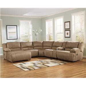 6 Piece Motion Sectional with Left Chaise and Console