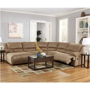 Signature Design by Ashley Furniture Hogan - Mocha 5 Piece Motion Sectional with Chaise