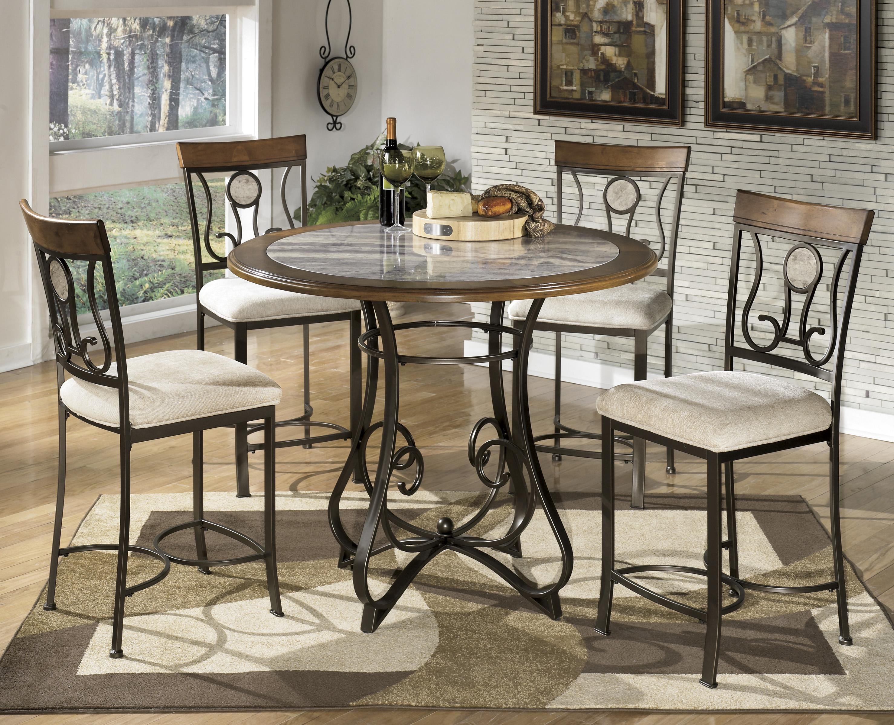 5piece round counter table set with steel frame u0026 faux marble table top