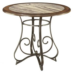Round Counter Table with Steel Base & Faux Marble Top