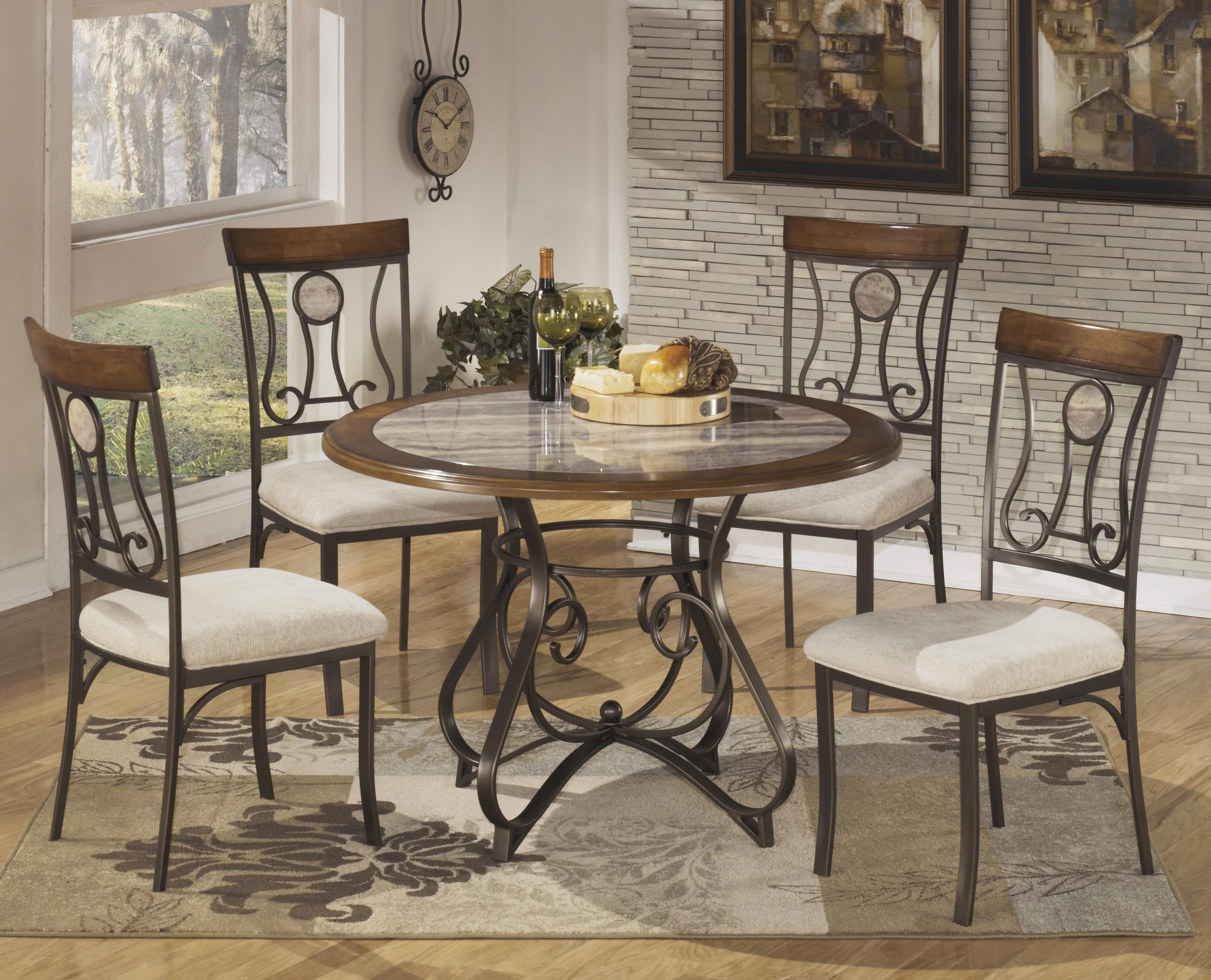 5 piece round dining table set with steel frame faux marble