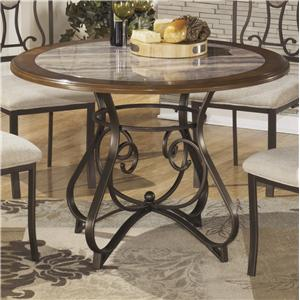 Round Dining Room Table with Steel Base & Faux Marble Top