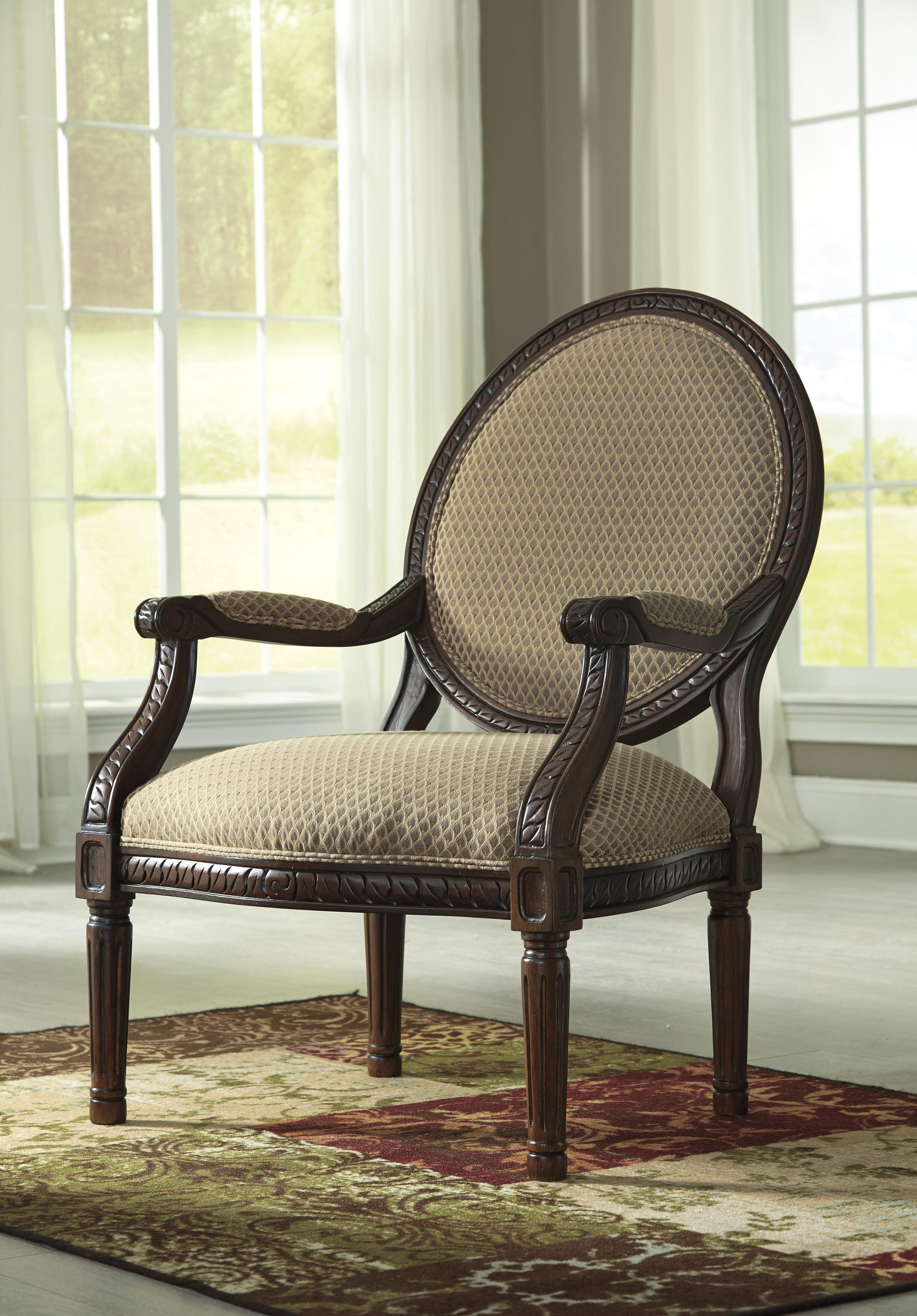 Round Back Exposed Wood Frame Accent Chair