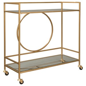 Contemporary Bar Cart with Casters