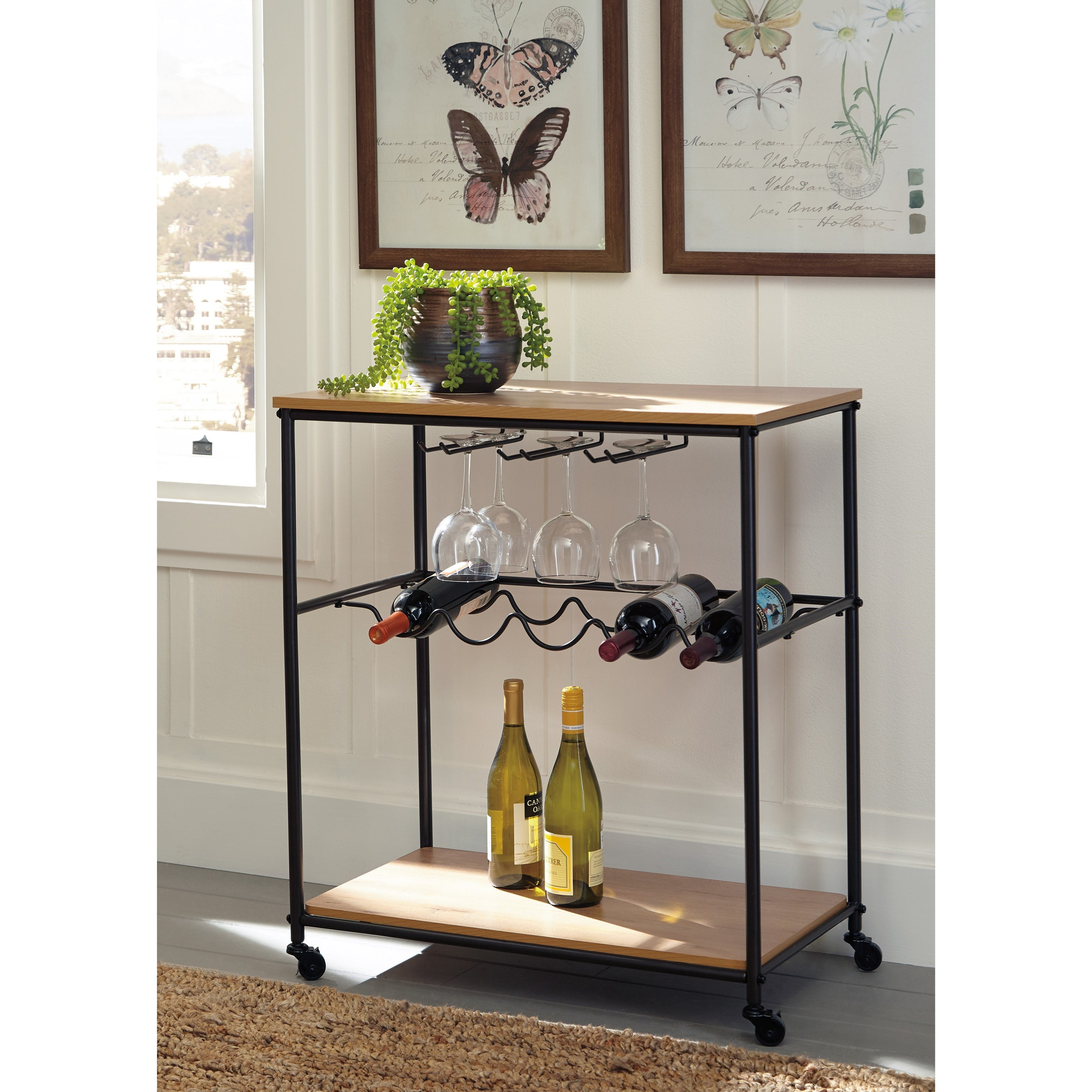 Bar Cart With Wine Bottle And Stemware Storage