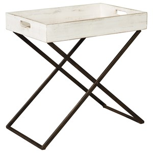 Tray Style Accent Table in Antique White Finish