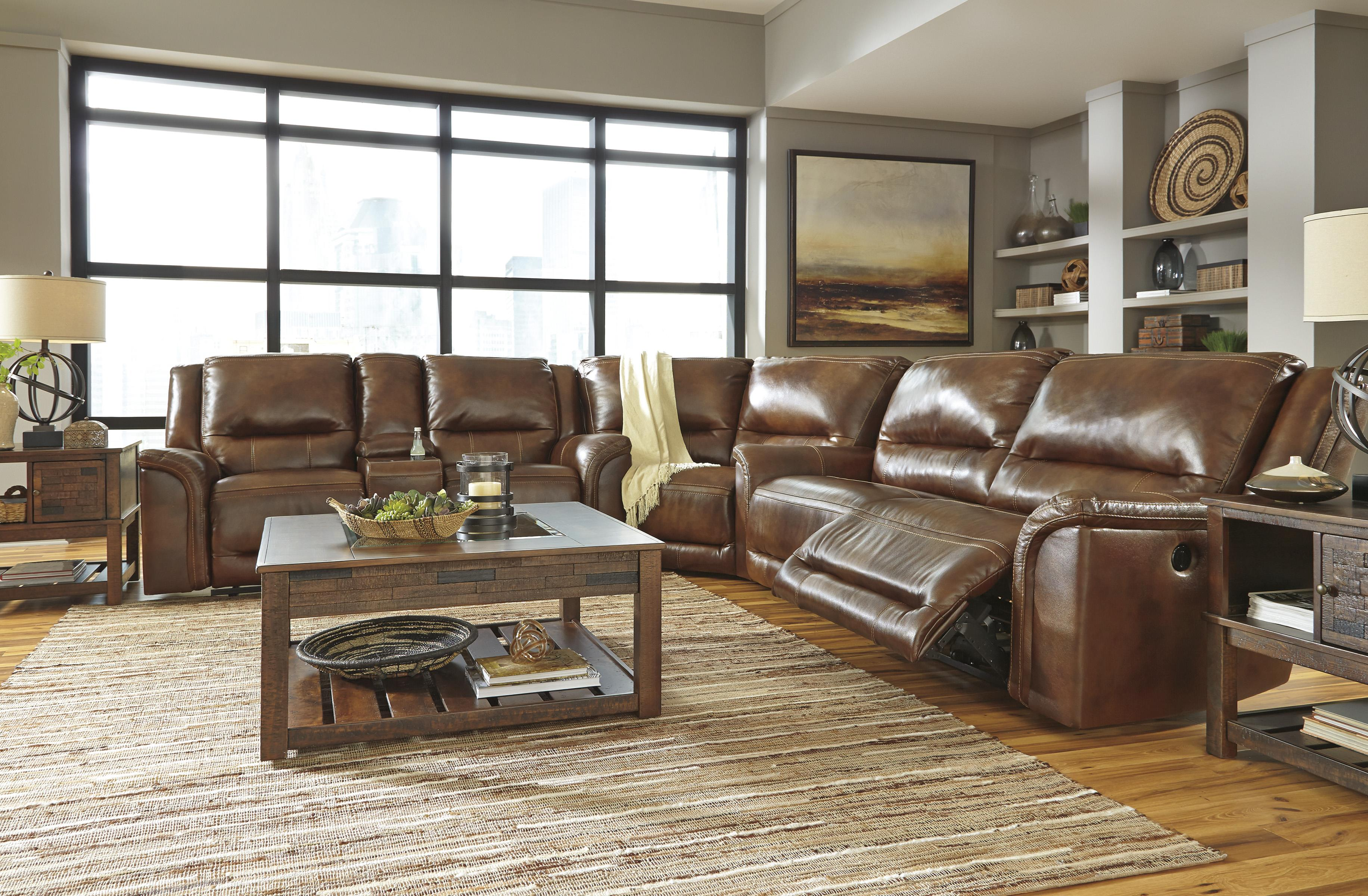 Contemporary Leather Match Reclining Sectional with Wedge by ...