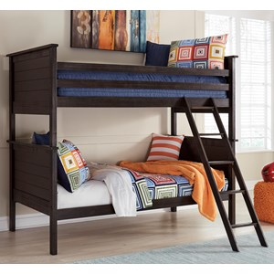 Twin/Twin Bunk Bed in Rub Through Black Finish