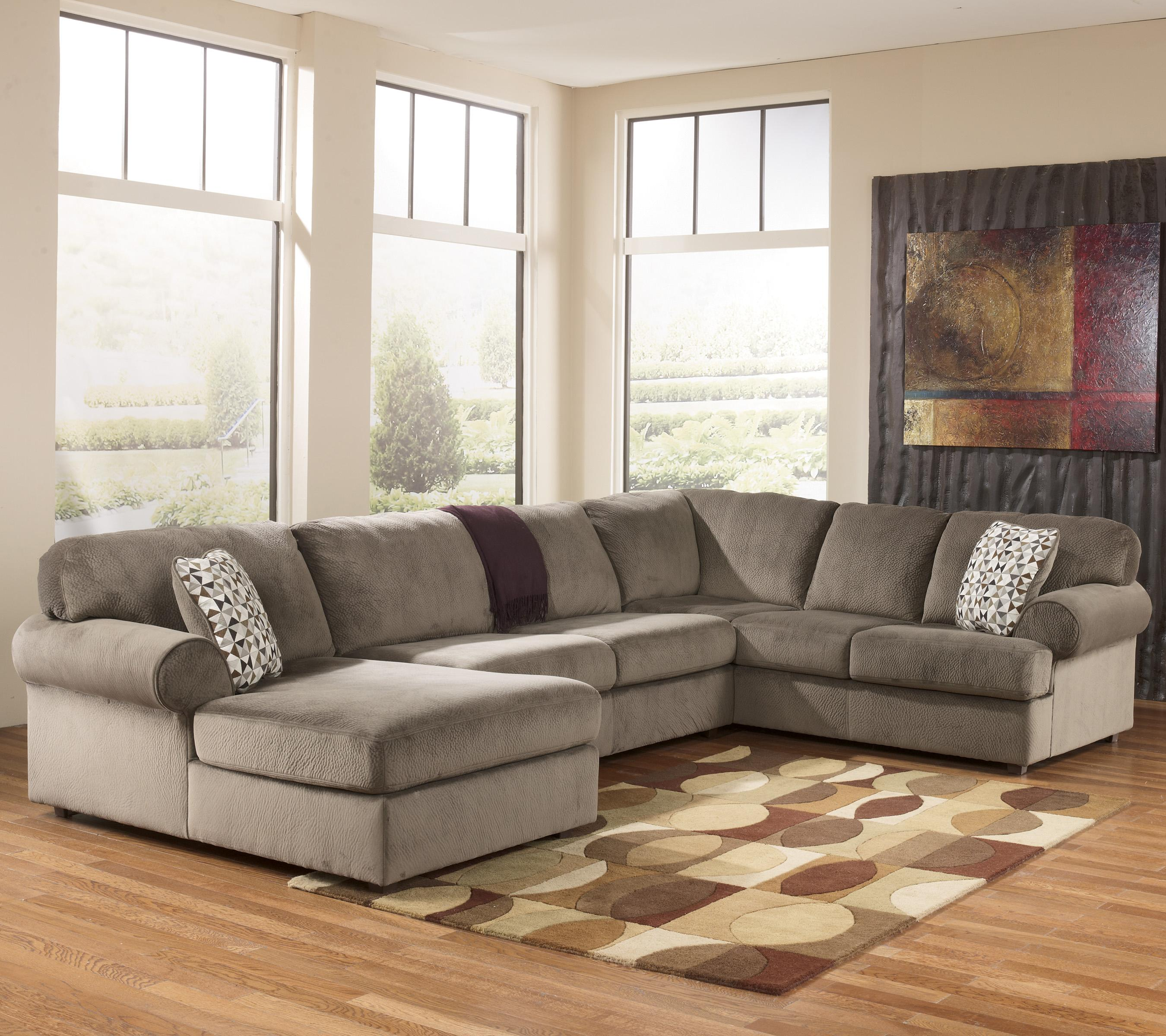 Casual sectional sofa with left chaise by signature design for Ashley sectionals with chaise