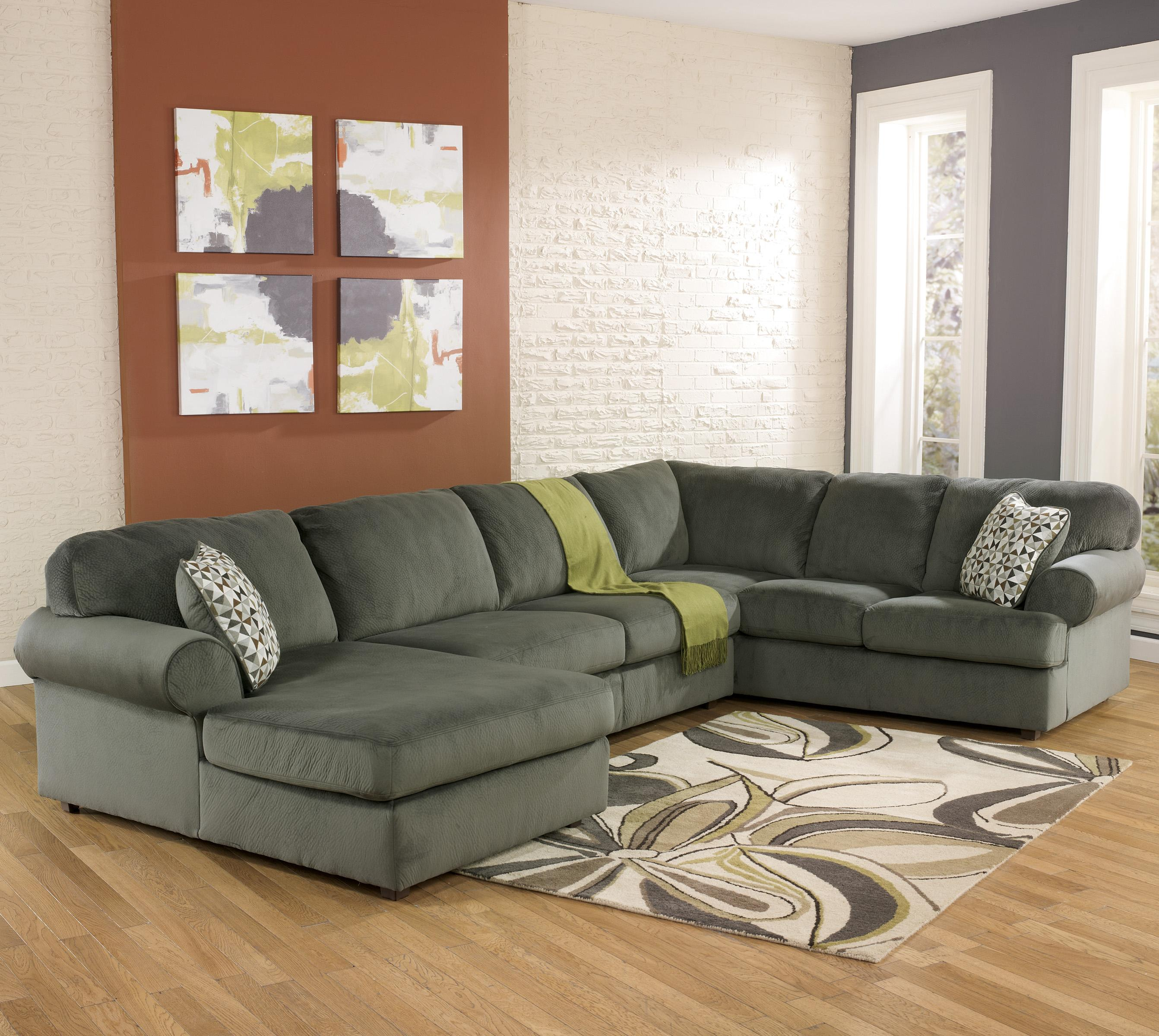 Casual sectional sofa with left chaise by signature design for Ashley furniture sectional with chaise