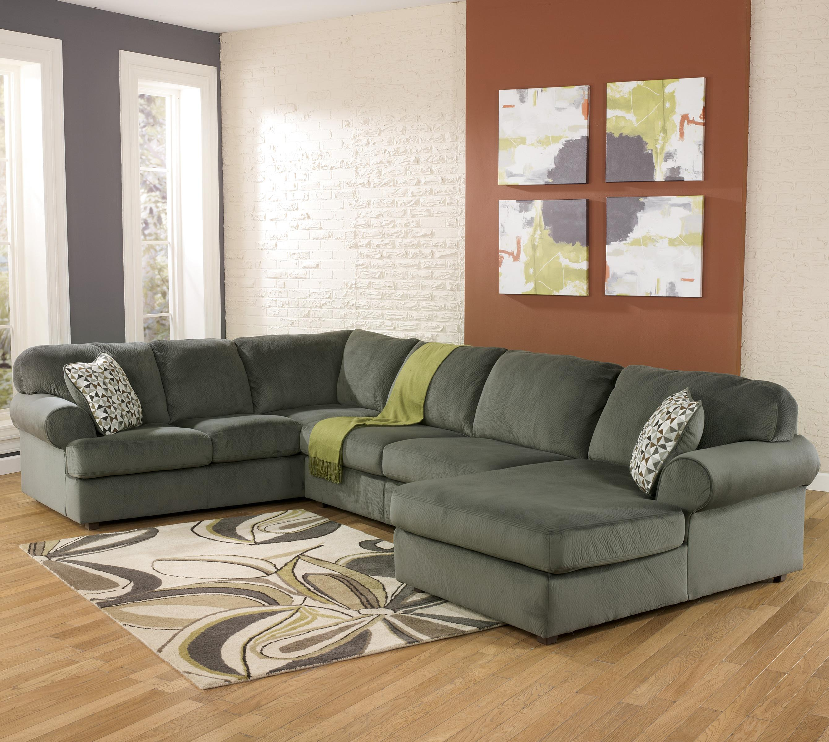 Casual sectional sofa with right chaise by signature for Ashley furniture couch with chaise